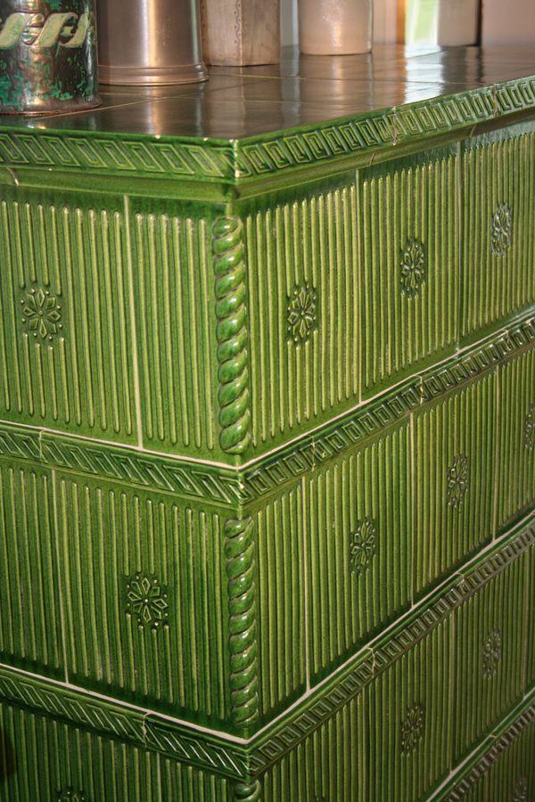 grüne Ofenkachel